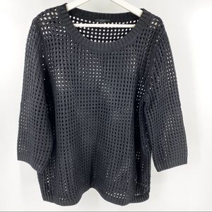 COS black perforated sweater 3/4 sleeve